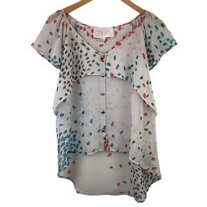 Rory Beca Mutli Colored Spots Sheer Blouse